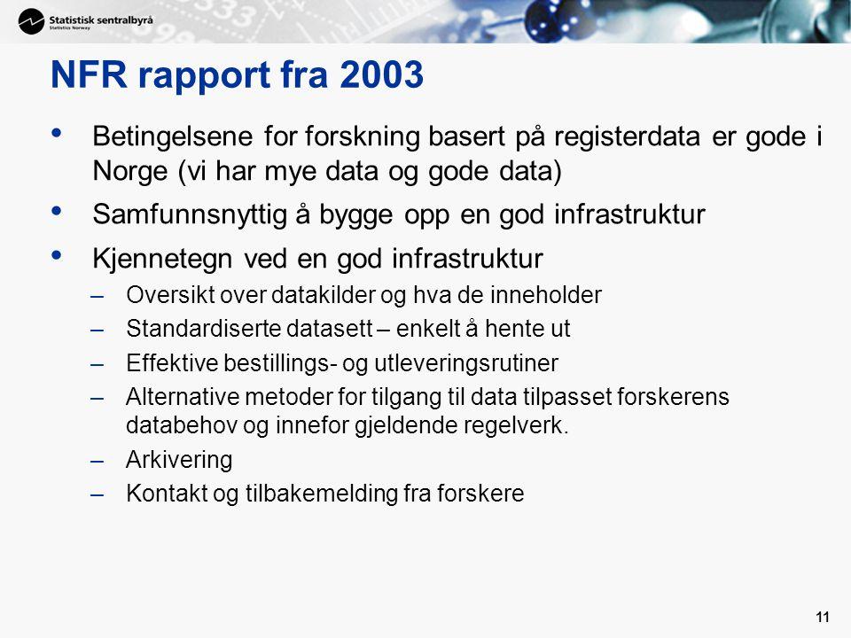NFR rapport fra 2003 Betingelsene for forskning basert på registerdata er gode i Norge (vi har mye data og gode data)