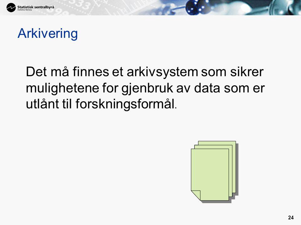 Arkivering Det må finnes et arkivsystem som sikrer mulighetene for gjenbruk av data som er utlånt til forskningsformål.