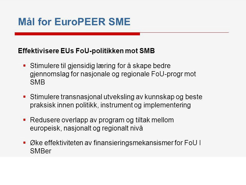 Mål for EuroPEER SME Effektivisere EUs FoU-politikken mot SMB