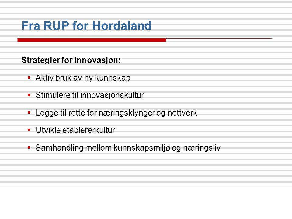 Fra RUP for Hordaland Strategier for innovasjon: