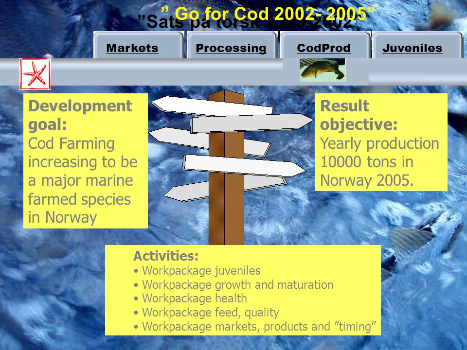 Go for Cod 2002- 2005 Sats på torsk 1999-2002 Development goal: