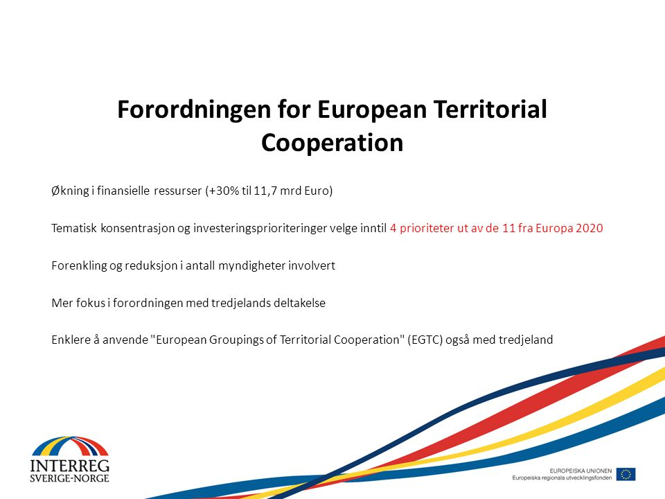 Forordningen for European Territorial Cooperation