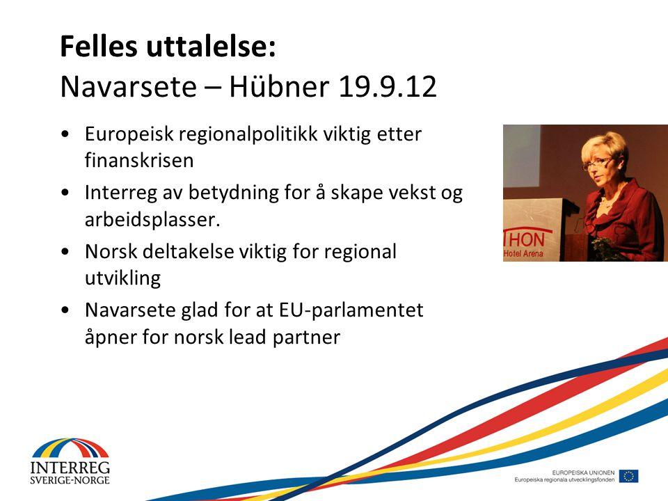 Felles uttalelse: Navarsete – Hübner 19.9.12