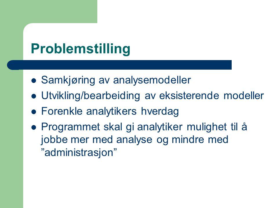 Problemstilling Samkjøring av analysemodeller