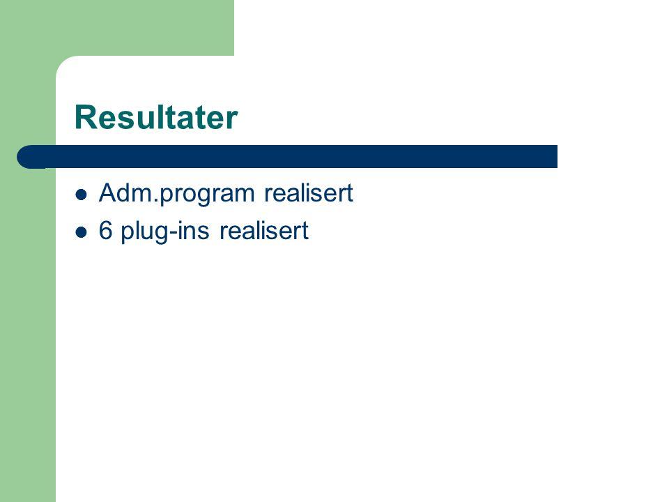 Resultater Adm.program realisert 6 plug-ins realisert