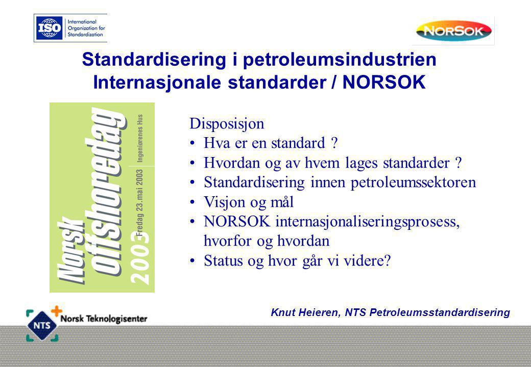 Standardisering i petroleumsindustrien Internasjonale standarder / NORSOK