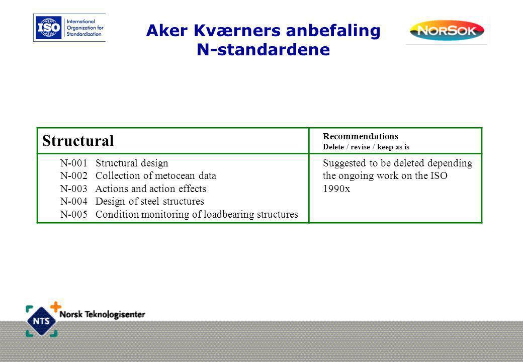 Aker Kværners anbefaling N-standardene