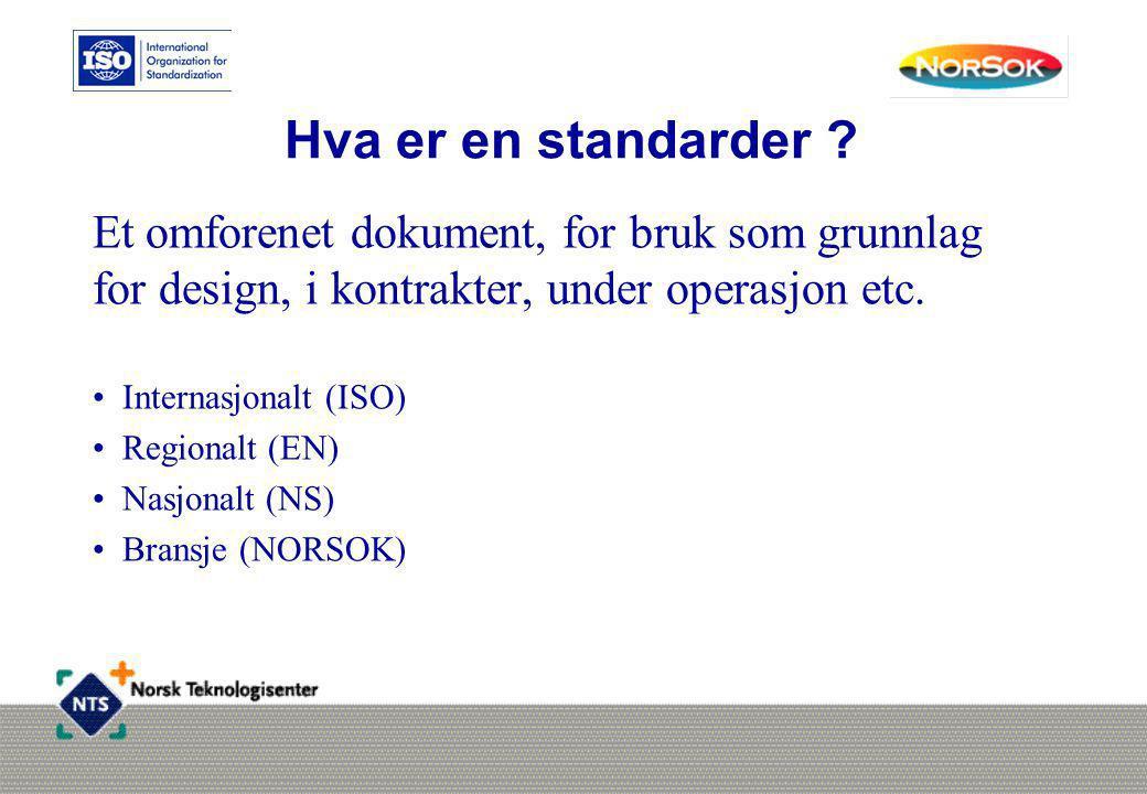 Hva er en standarder Et omforenet dokument, for bruk som grunnlag for design, i kontrakter, under operasjon etc.