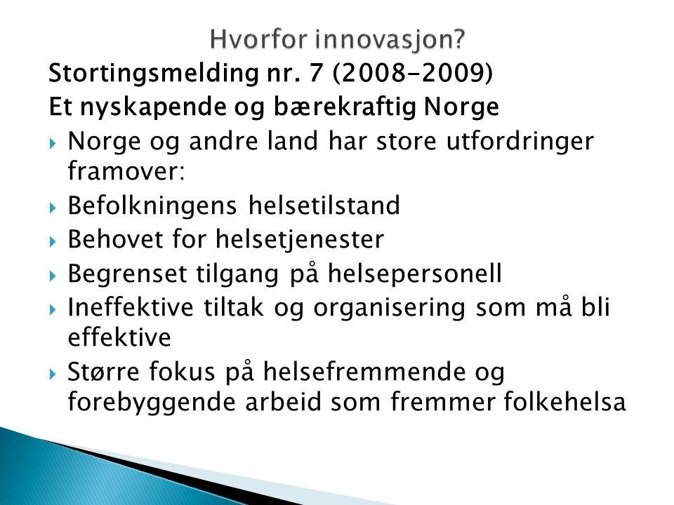 Hvorfor innovasjon Stortingsmelding nr. 7 (2008-2009)