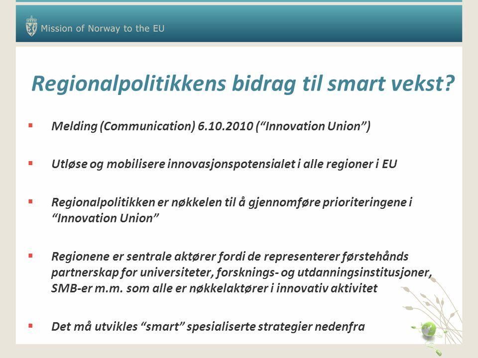 Regionalpolitikkens bidrag til smart vekst