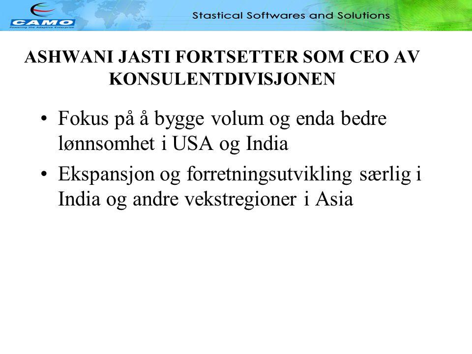 ASHWANI JASTI FORTSETTER SOM CEO AV KONSULENTDIVISJONEN
