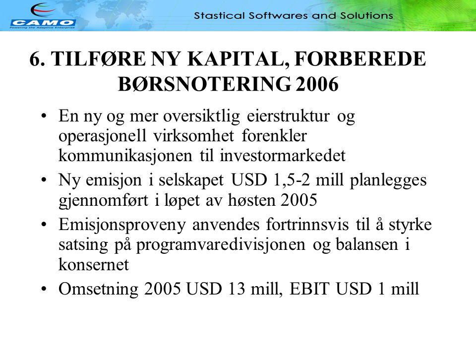 6. TILFØRE NY KAPITAL, FORBEREDE BØRSNOTERING 2006
