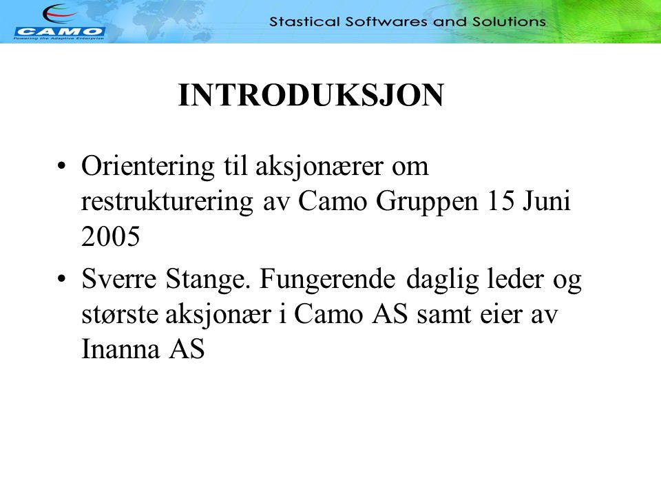 INTRODUKSJON Orientering til aksjonærer om restrukturering av Camo Gruppen 15 Juni 2005.