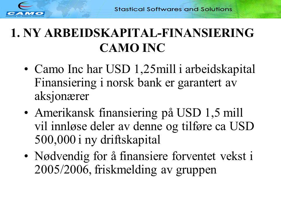 1. NY ARBEIDSKAPITAL-FINANSIERING CAMO INC