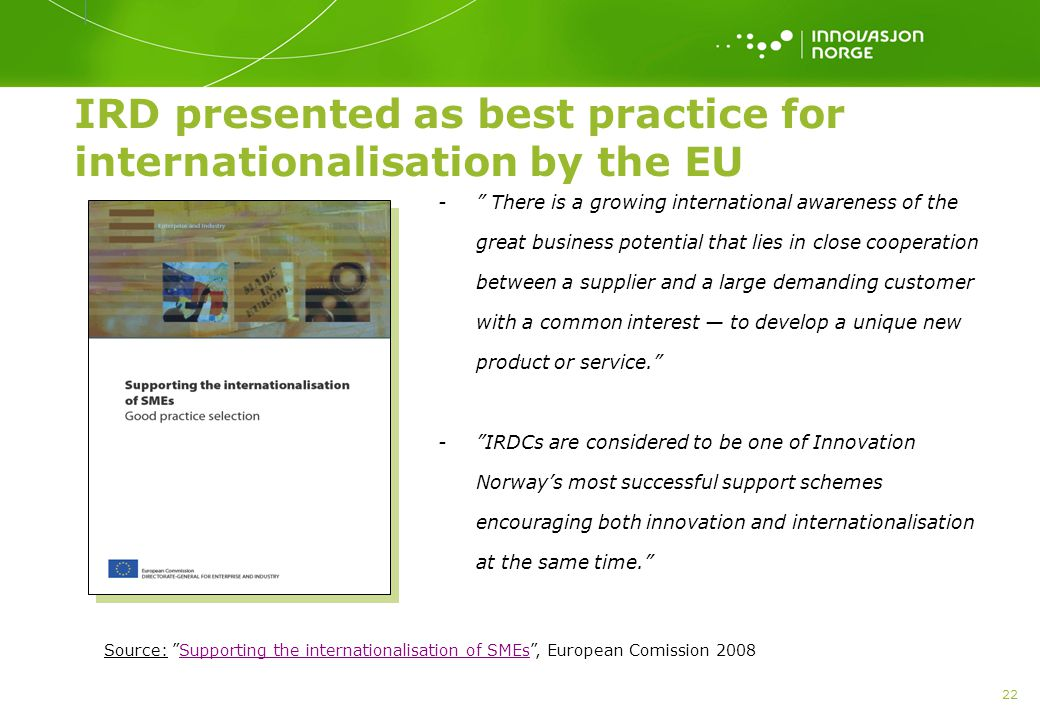 IRD presented as best practice for internationalisation by the EU