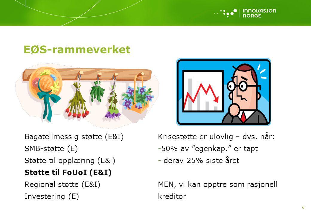 EØS-rammeverket Bagatellmessig støtte (E&I) SMB-støtte (E)