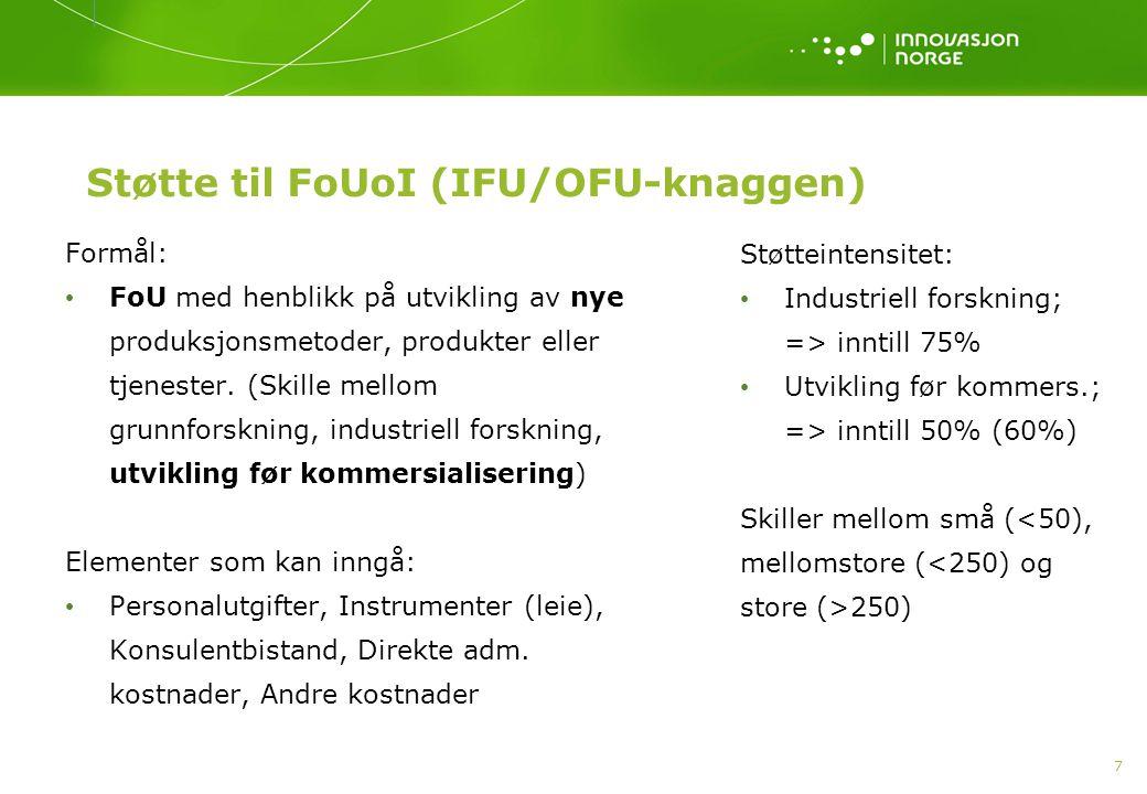 Støtte til FoUoI (IFU/OFU-knaggen)