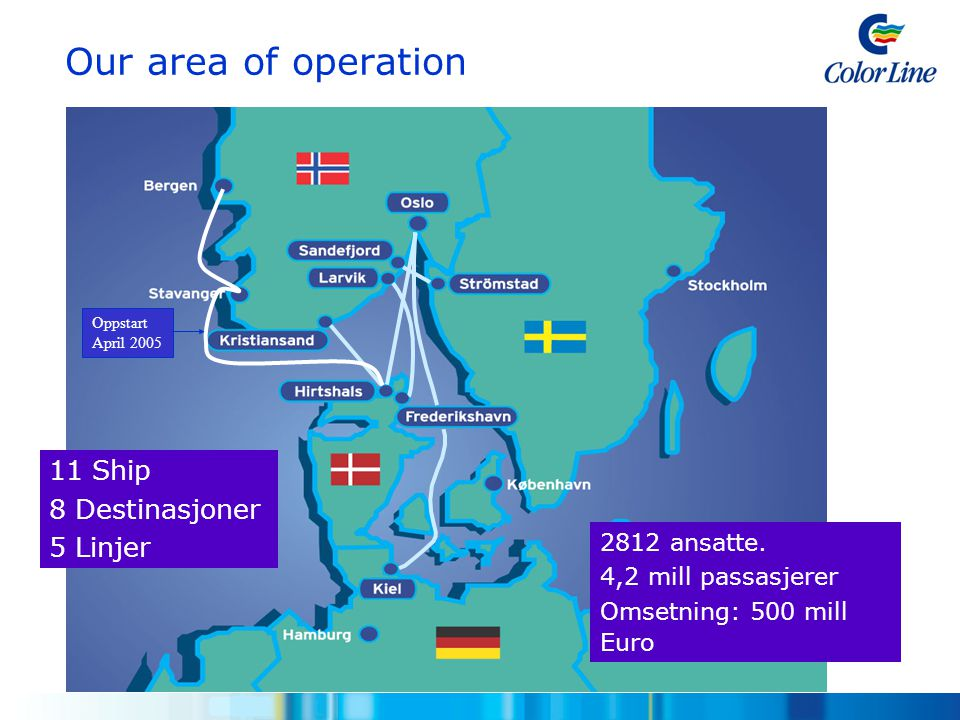 Our area of operation 11 Ship 8 Destinasjoner 5 Linjer 2812 ansatte.