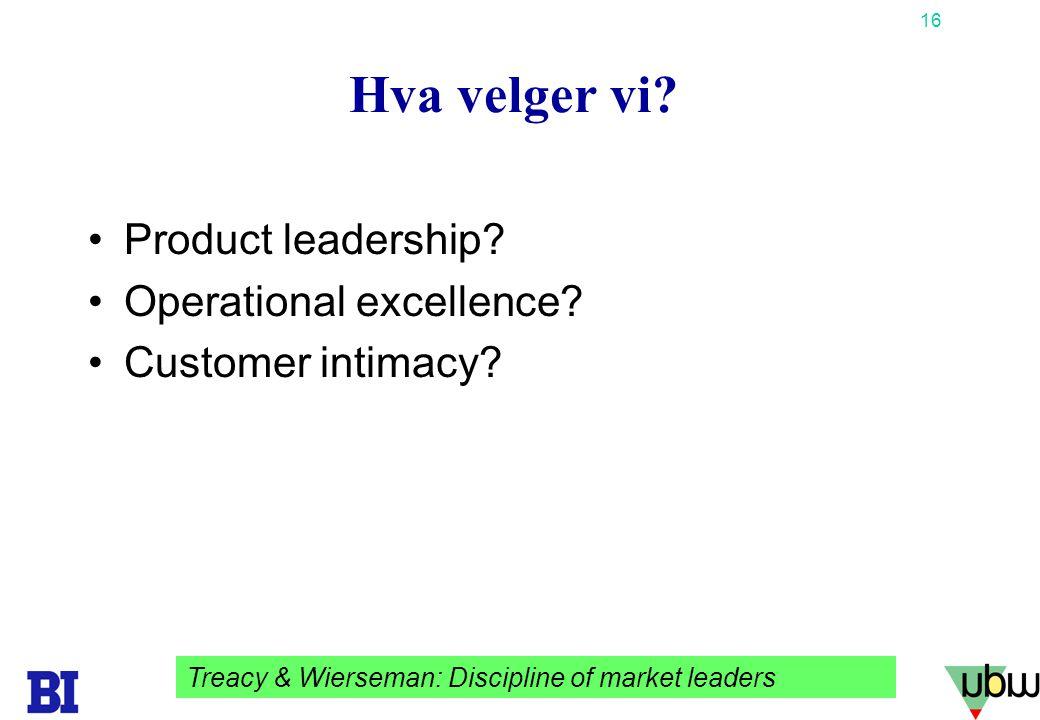 Hva velger vi Product leadership Operational excellence
