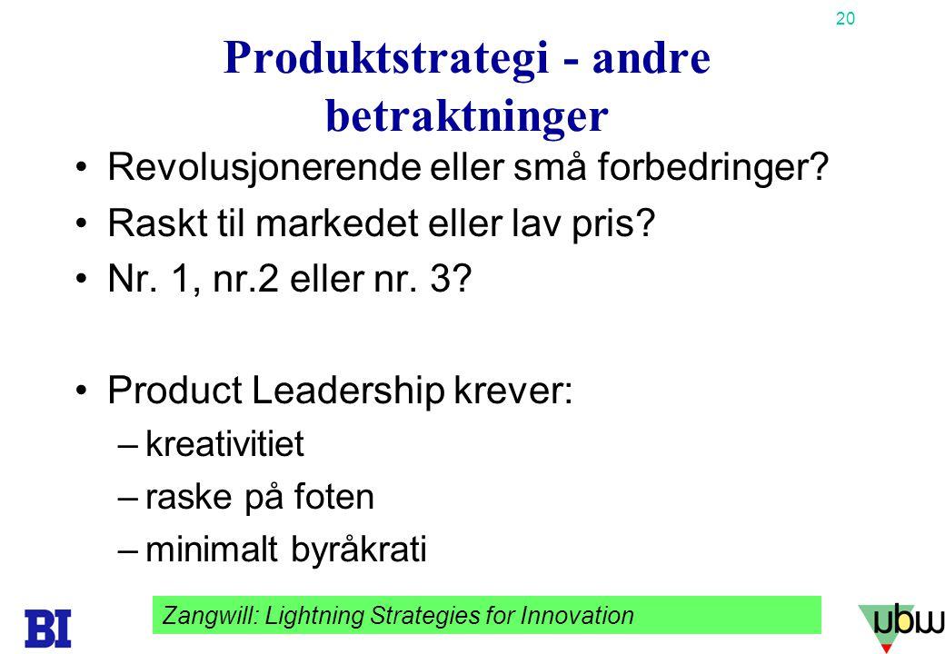 Produktstrategi - andre betraktninger