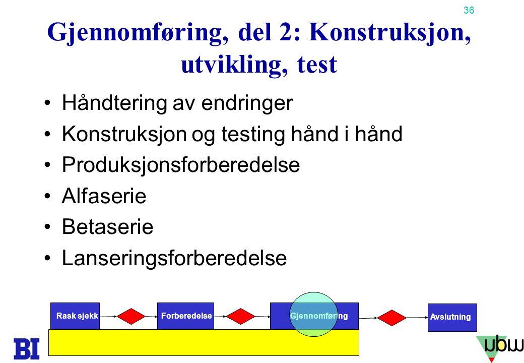 Gjennomføring, del 2: Konstruksjon, utvikling, test