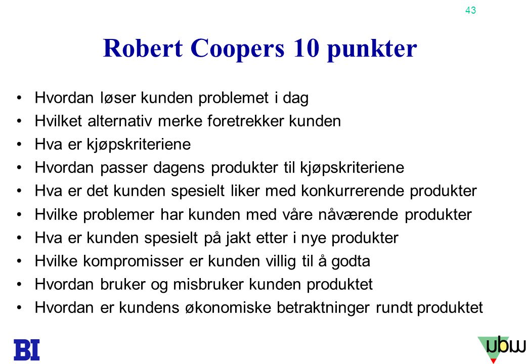 Robert Coopers 10 punkter