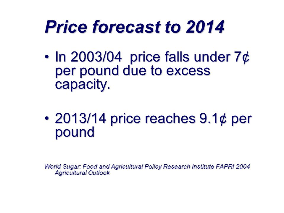 Price forecast to 2014 In 2003/04 price falls under 7¢ per pound due to excess capacity. 2013/14 price reaches 9.1¢ per pound.