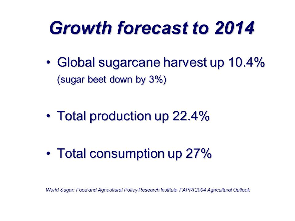 Growth forecast to 2014 Global sugarcane harvest up 10.4% (sugar beet down by 3%) Total production up 22.4%