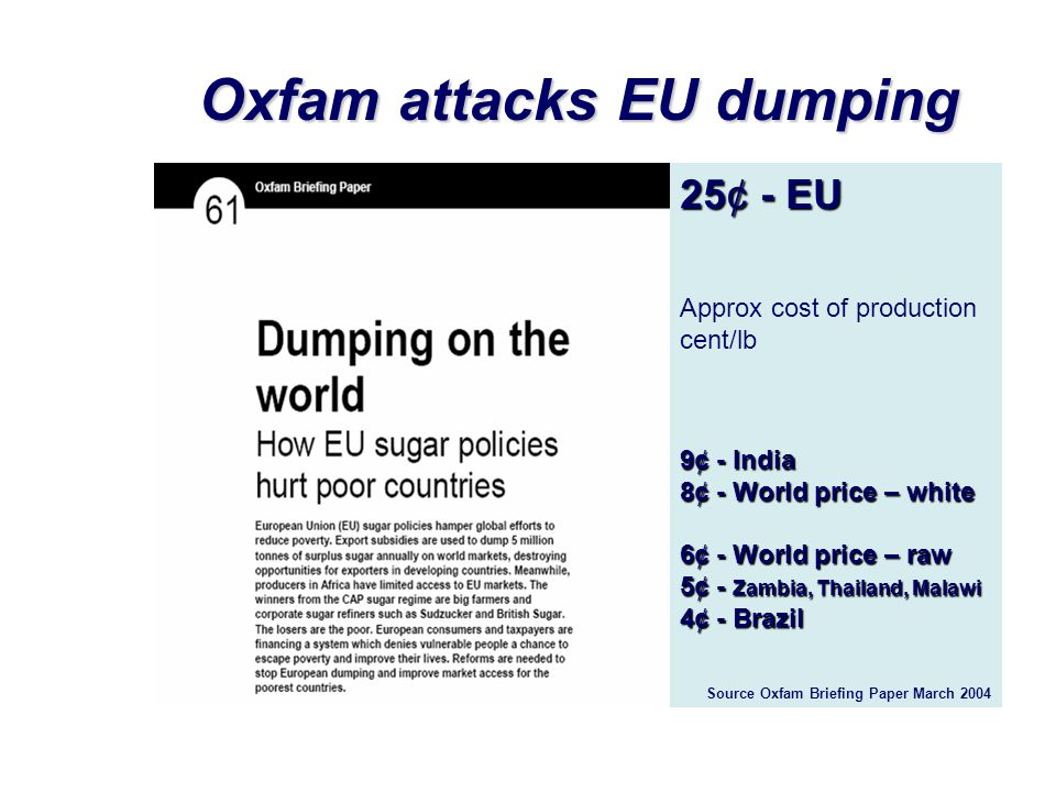 Oxfam attacks EU dumping