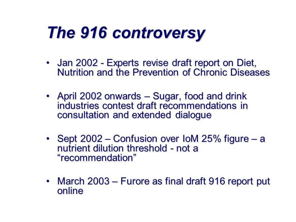 The 916 controversy Jan Experts revise draft report on Diet, Nutrition and the Prevention of Chronic Diseases.