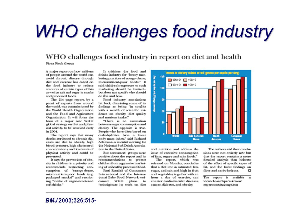 WHO challenges food industry