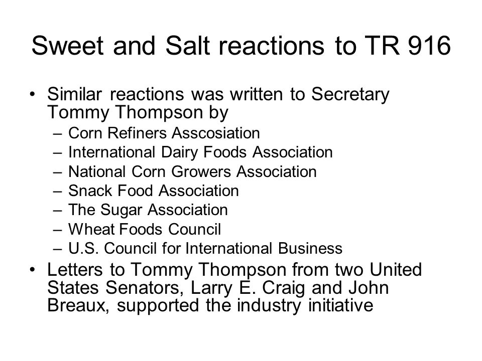 Sweet and Salt reactions to TR 916