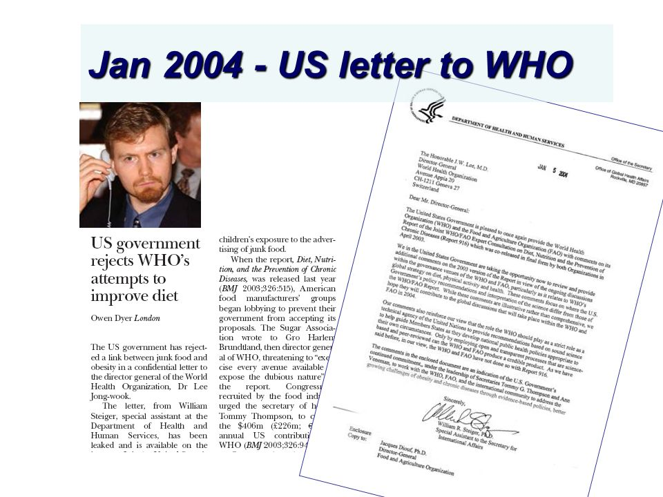 Jan 2004 - US letter to WHO
