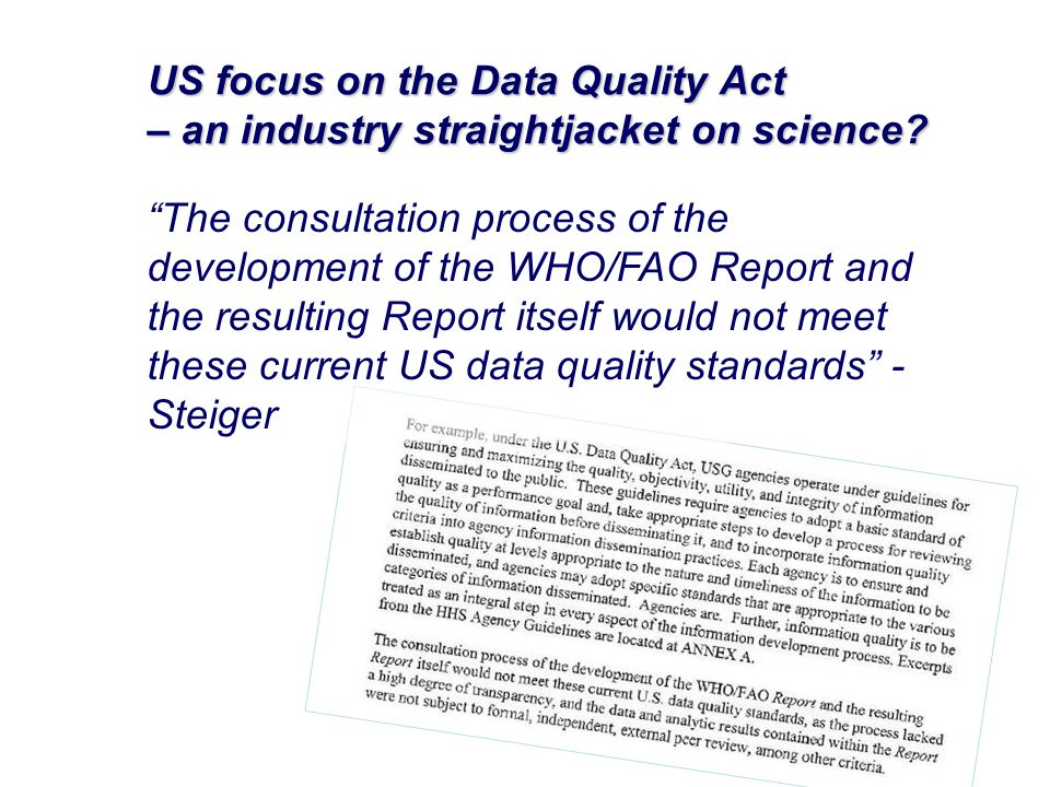 US focus on the Data Quality Act – an industry straightjacket on science
