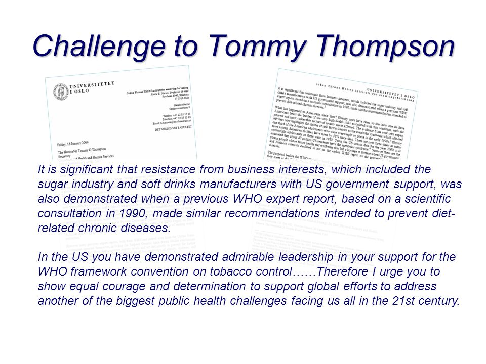 Challenge to Tommy Thompson