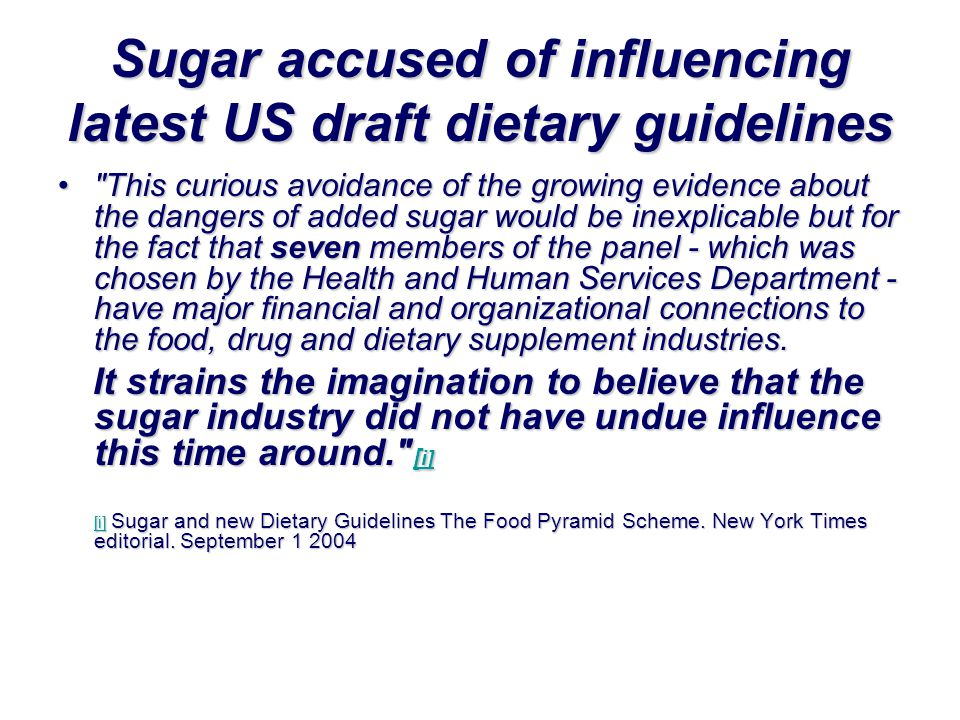 Sugar accused of influencing latest US draft dietary guidelines