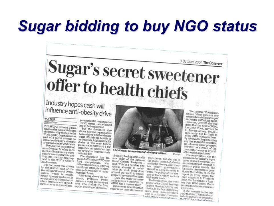 Sugar bidding to buy NGO status