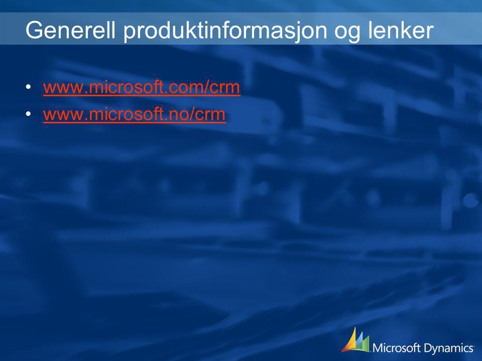 Generell produktinformasjon og lenker