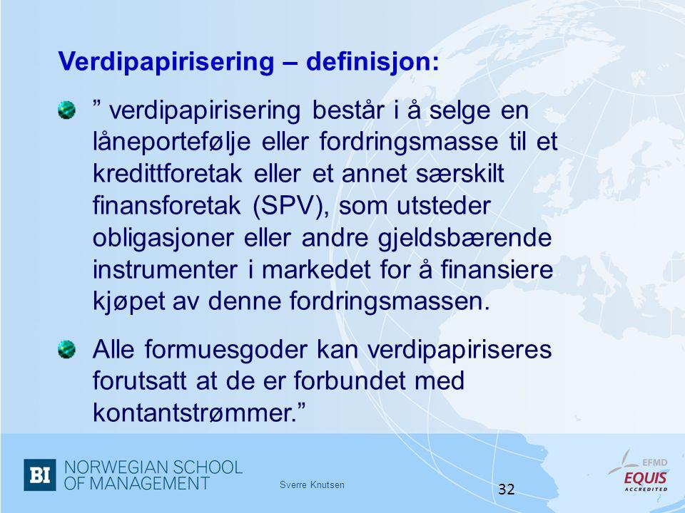 Verdipapirisering – definisjon: