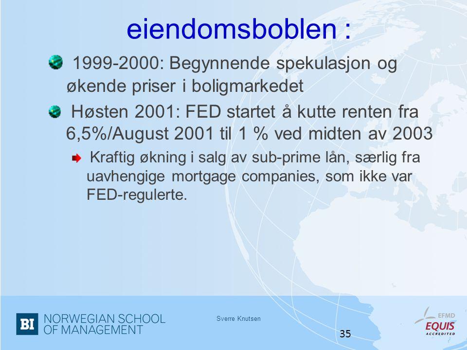 eiendomsboblen : 1999-2000: Begynnende spekulasjon og økende priser i boligmarkedet.