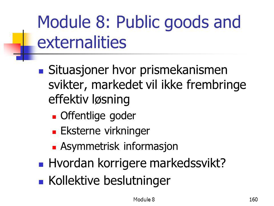 Module 8: Public goods and externalities