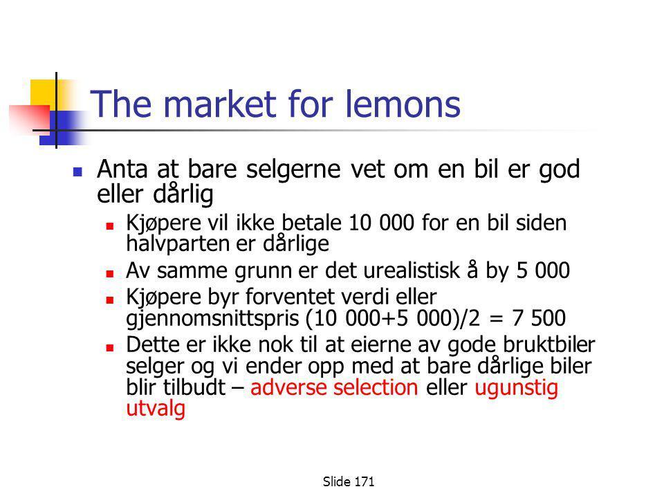 The market for lemons Anta at bare selgerne vet om en bil er god eller dårlig. Kjøpere vil ikke betale 10 000 for en bil siden halvparten er dårlige.