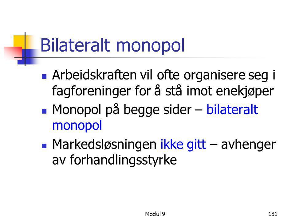 Bilateralt monopol Arbeidskraften vil ofte organisere seg i fagforeninger for å stå imot enekjøper.