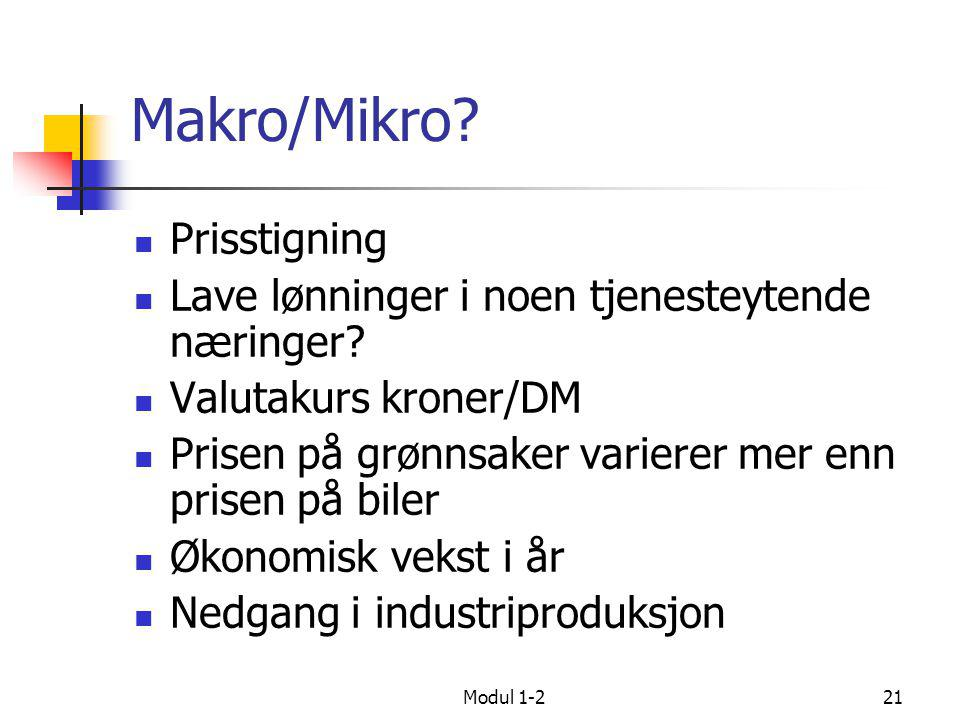 Makro/Mikro Prisstigning