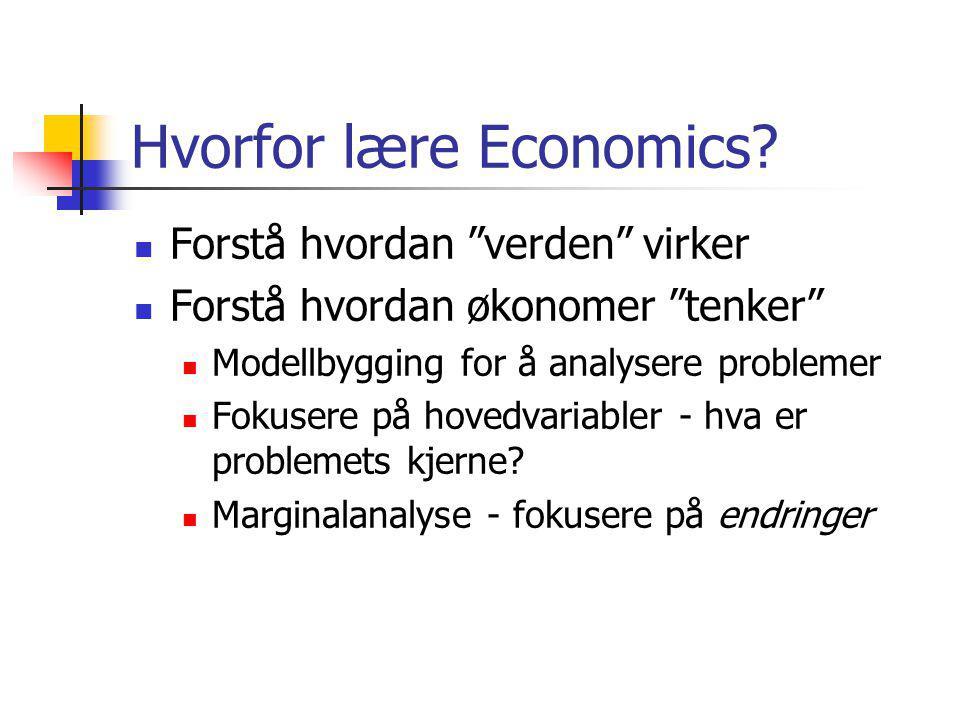 Hvorfor lære Economics
