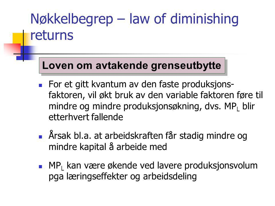 Nøkkelbegrep – law of diminishing returns