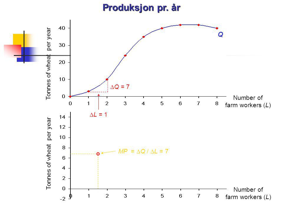 Produksjon pr. år Q Tonnes of wheat per year DQ = 7 Number of