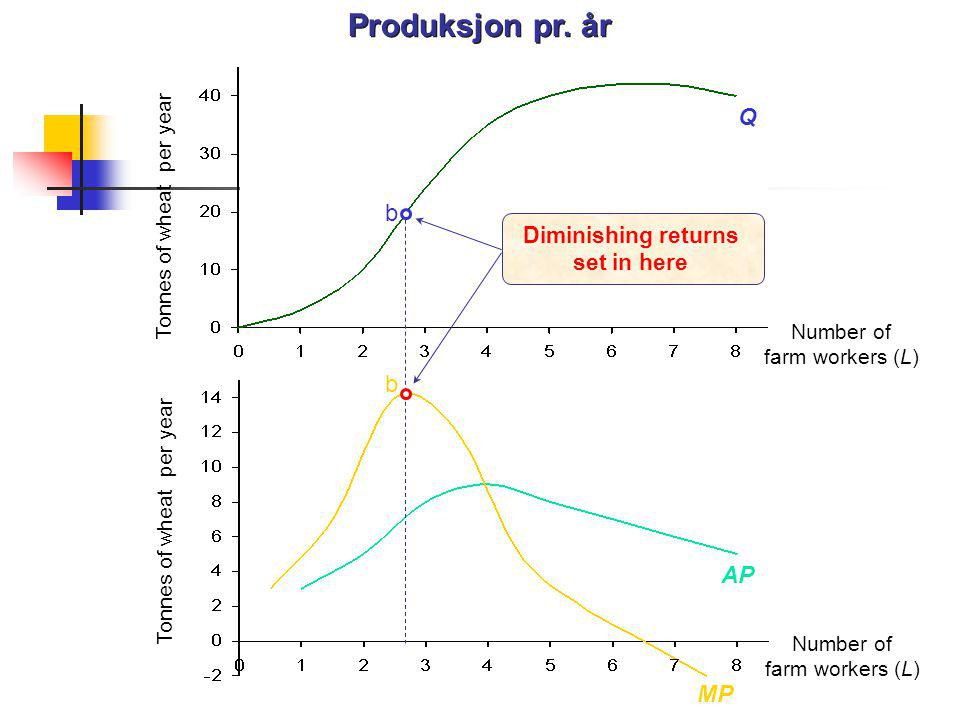 Produksjon pr. år Q b AP MP Diminishing returns set in here