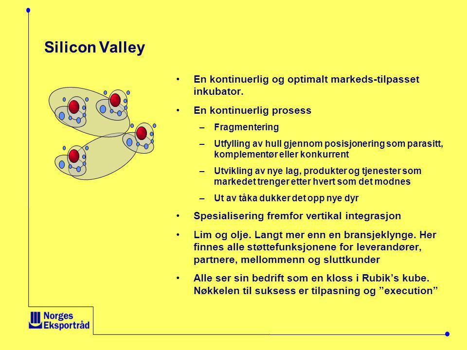 Silicon Valley En kontinuerlig og optimalt markeds-tilpasset inkubator. En kontinuerlig prosess. Fragmentering.