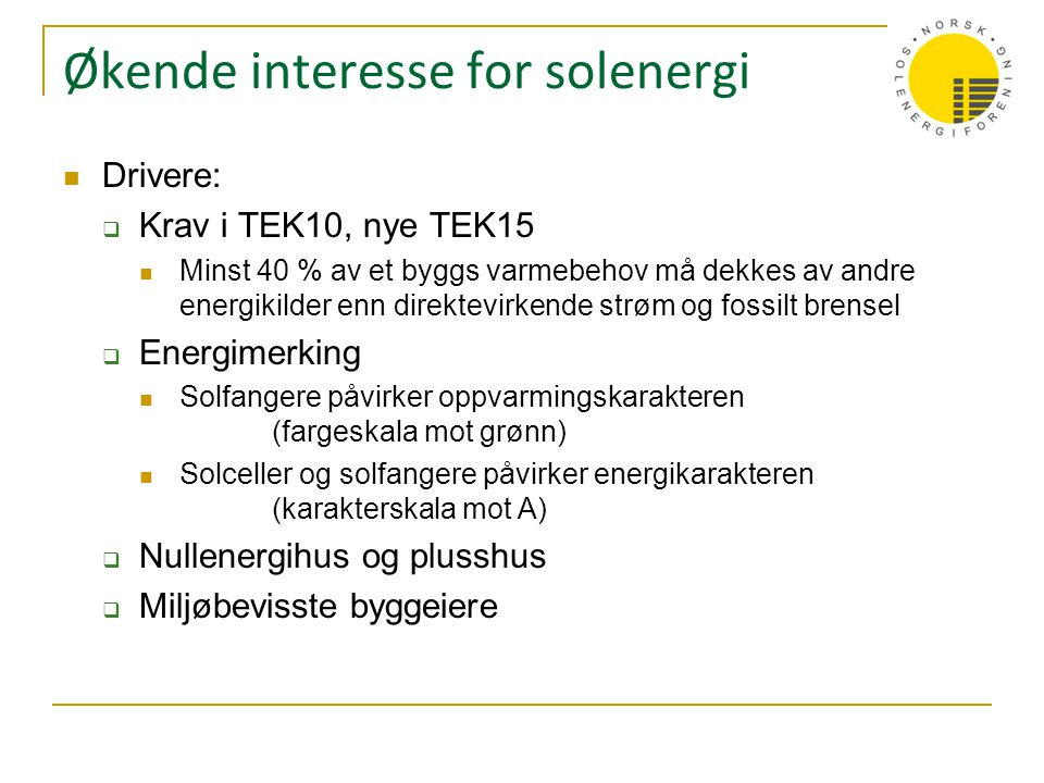 Økende interesse for solenergi